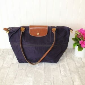 Large purple Longchamp tote